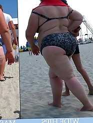 Best Fat Granny and Milf beach voyeur pt 6